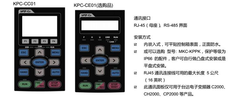 台达变频器CP2000操作面板说明