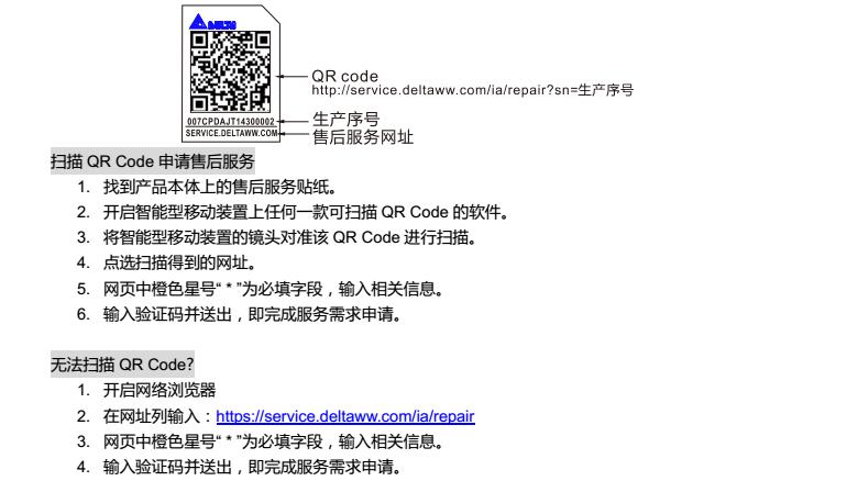 台达变频器CP2000 Service Link贴纸使用说明